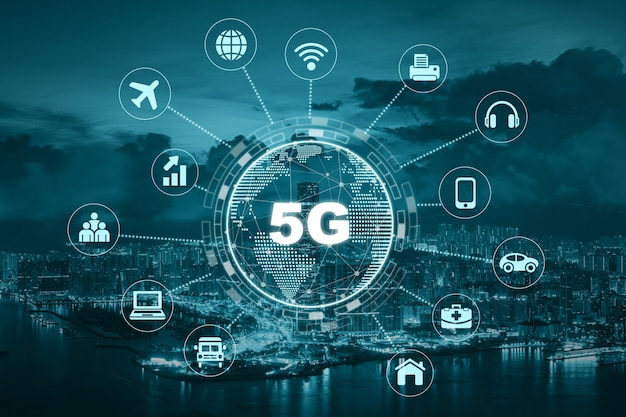 5g technology with earth dot in center of various icon internet of thing