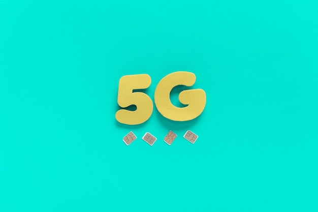 5g text on plain background with sim cards