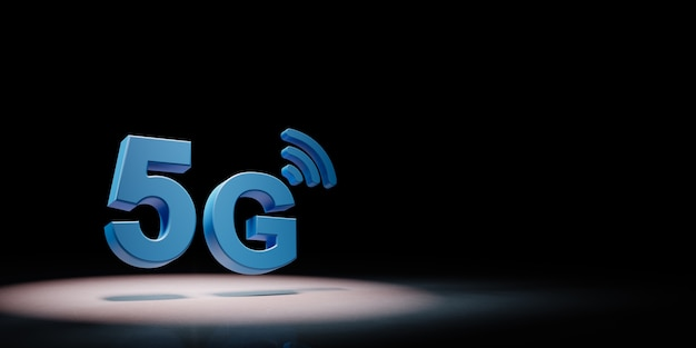 5g text in the spotlight isolated