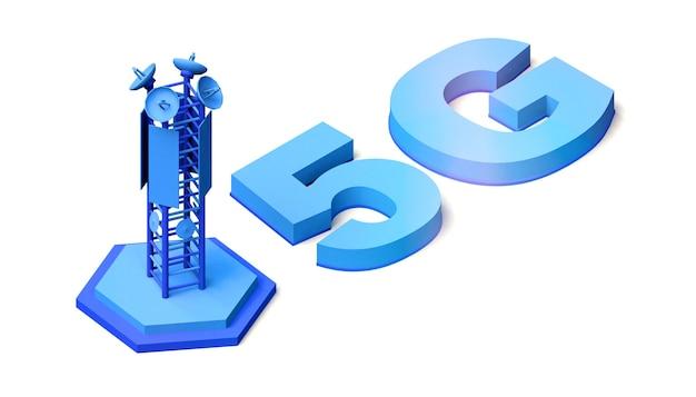 통신 안테나가 있는 5g 텍스트. 3d 그림입니다. 네트워크. 배경.