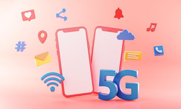 アイコン付きの5g2電話コンセプトwifi接続3dレンダリング。