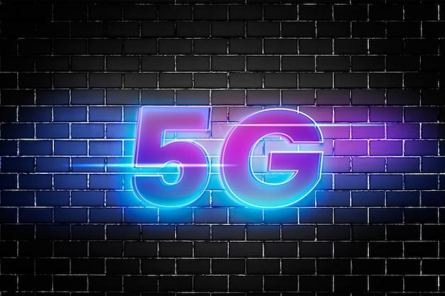 Типографика 5g с использованием шрифта 3d glow