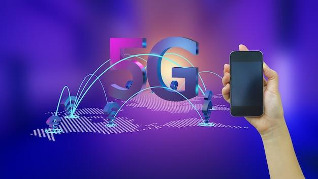 Сеть wi-fi 5g на абстрактном фоне с рукой, держащей смартфон
