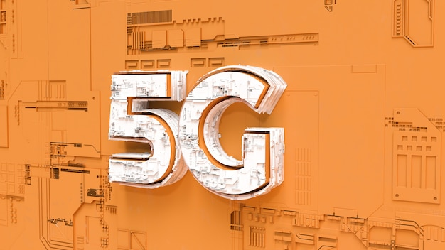 5g wireless network 3d rendering concept. 5g internet communications for future on orange background illustration.