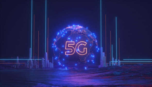 5g wireless network with global map and connection concept 3d rendering illustration