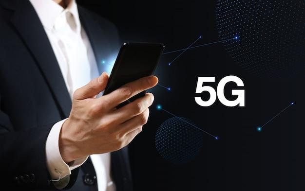 5gネットワークテクノロジー。インターネットビジネスコンセプト。