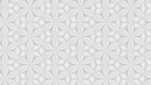 6本の尖った花を持つ3次元光幾何学パターン