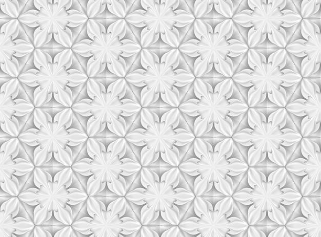 6つの先の尖った花と3次元光幾何学シームレスパターン