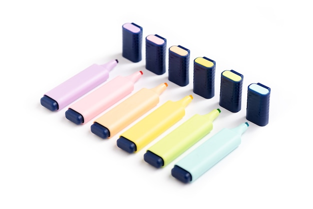 6 pastel highlighters on white background without cap