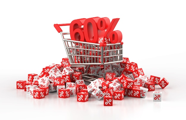 60 percent discount sale concept with trolley and a pile of red and white cube with percent in 3d illustration