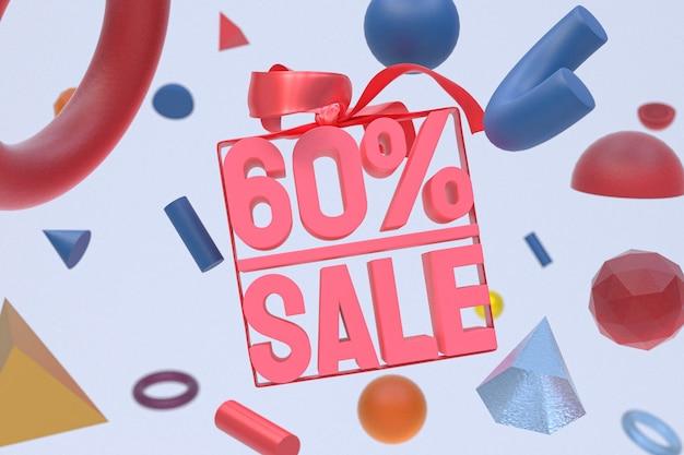 Продажа 60 с бантом и лентой 3d-дизайн на фоне абстрактной геометрии