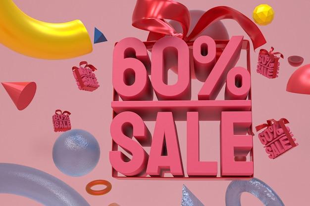 Продажа 60% с бантом и лентой 3d-дизайн на фоне абстрактной геометрии
