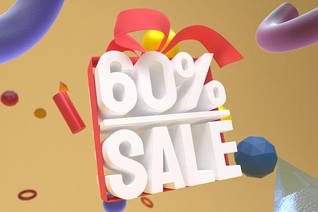 60% распродажа с бантом и лентой 3d-дизайн на фоне абстрактной геометрии