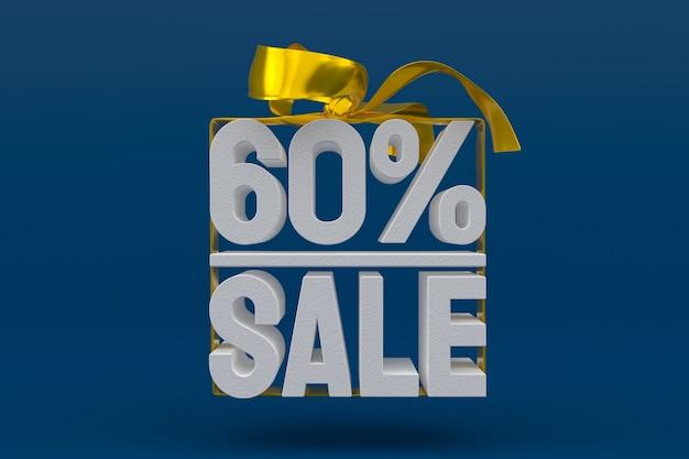 Продажа 60 с бантом и лентой 3d-дизайн на пустом фоне