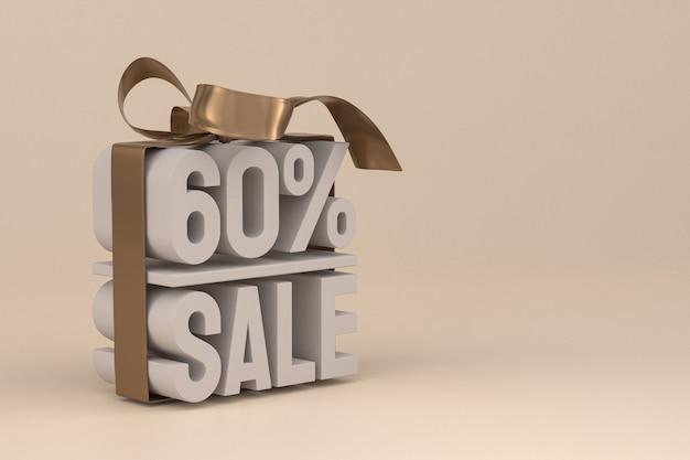 Продажа 60% с бантом и лентой 3d-дизайн на пустом фоне