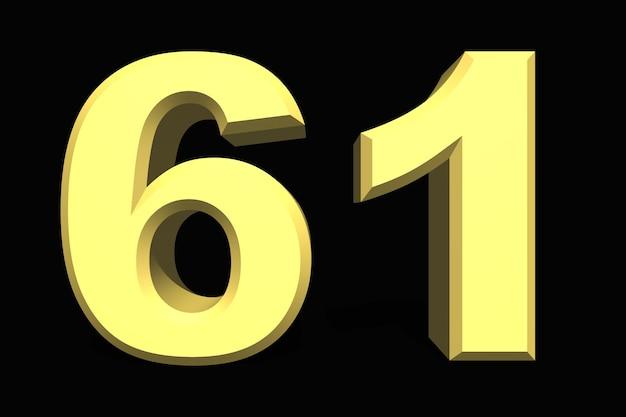 61 шестьдесят один номер 3d синий на темном фоне