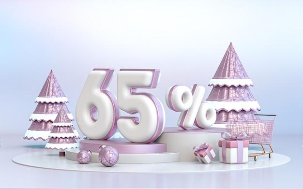 소셜 미디어 프로모션 포스터 3d 렌더링을 위한 65% 겨울 특별 제공 할인 배경