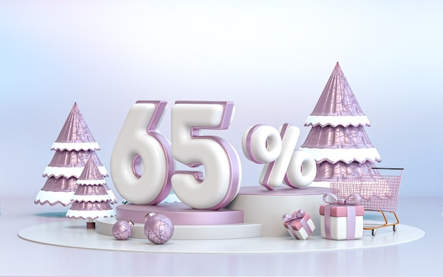 65 percent winter special offer discount background for social media promotion poster 3d rendering