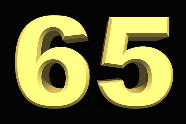 어두운 배경에 65 65 숫자 3d 파란색