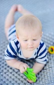 明るいおもちゃで遊ぶ6ヶ月歳の赤ちゃんの屋外のポートレート