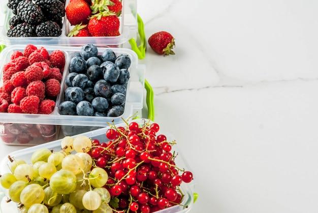 Летние фрукты и ягоды. 6 видов сырых органических ягод фермера
