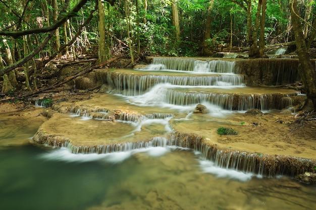 クアン・スリナガリンドラ国立公園、カンチャナブリ、タイにあるフェイメイカミン滝のレベル6
