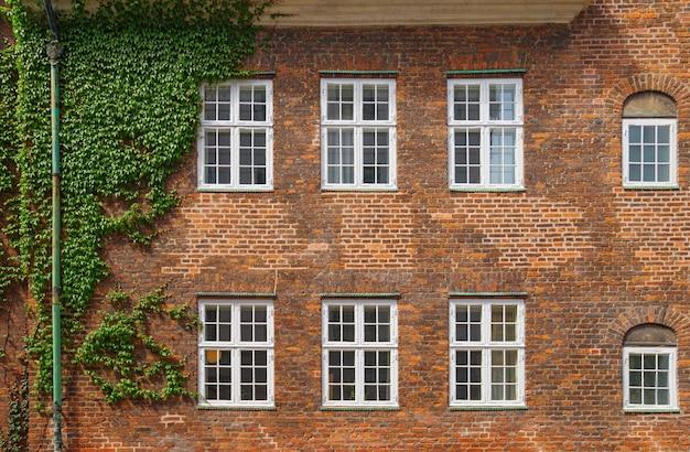 コペンハーゲンの6つのウィンドウでれんが造りの壁