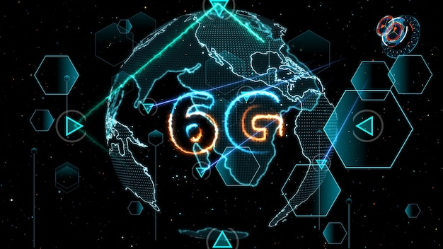 6g network super speed internet digital world map in monitor digital meter cycle radar 3d electronic meter inside sent data by quantum satellite send signal and star brust background