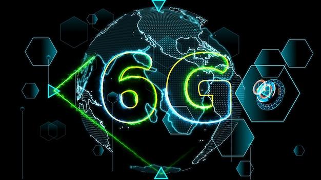 6g network super speed internet digital world map in the monitor digital meter cycle radar 3d electronic meter inside sent data by quantum satellite
