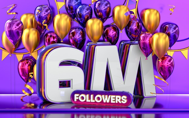 6m followers celebration thank you social media banner with purple and gold balloon 3d rendering