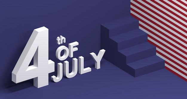 7月4日の3 dイラストレーション。アメリカ独立記念日