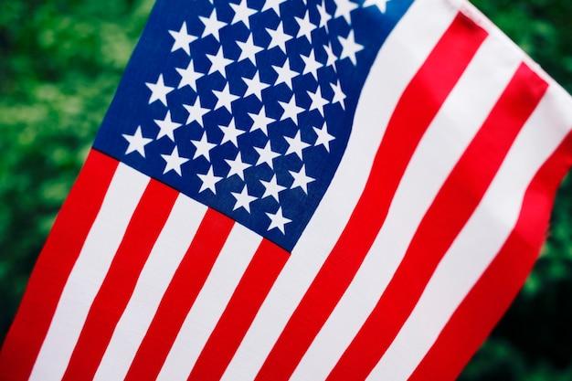 アメリカの旗を持っている人。 7月4日の独立記念日