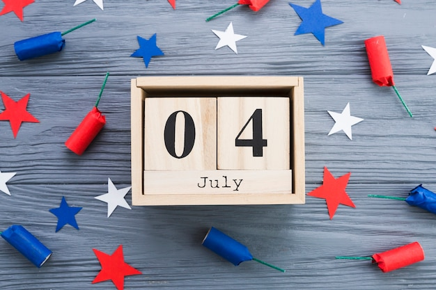 7月4日フレームのフラットレイ