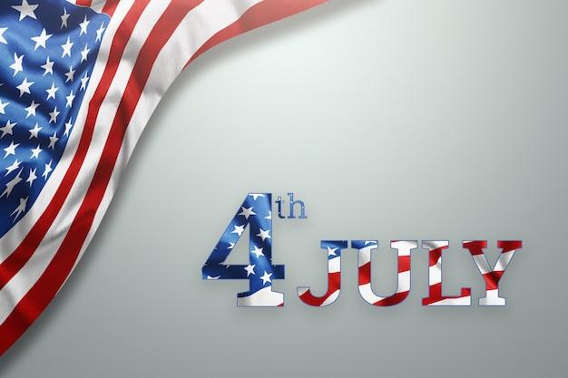 アメリカ独立記念日のための木製の背景に7月4日の碑文