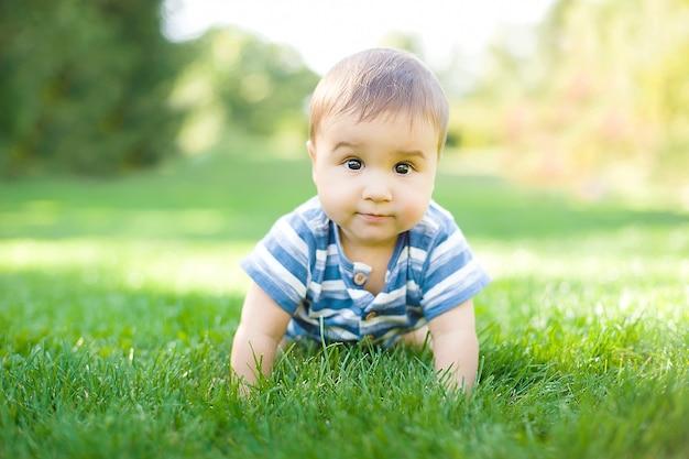7ヶ月の赤ちゃんが庭の草の上をcraう