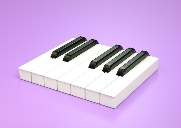 7 клавиш фортепиано, одна октава. музыкальная концепция. 3d иллюстрации, изолированные на фиолетовом фоне