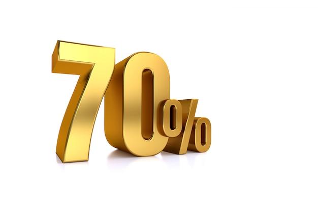 70%オフ。発売中。すごい。 70。半分。白い背景の上の大きな黄金フォントでイラスト分離された3dテキストをレンダリングします。
