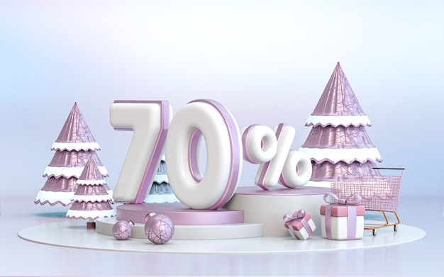 소셜 미디어 프로모션 포스터 3d 렌더링을 위한 70% 겨울 특별 제공 할인 배경