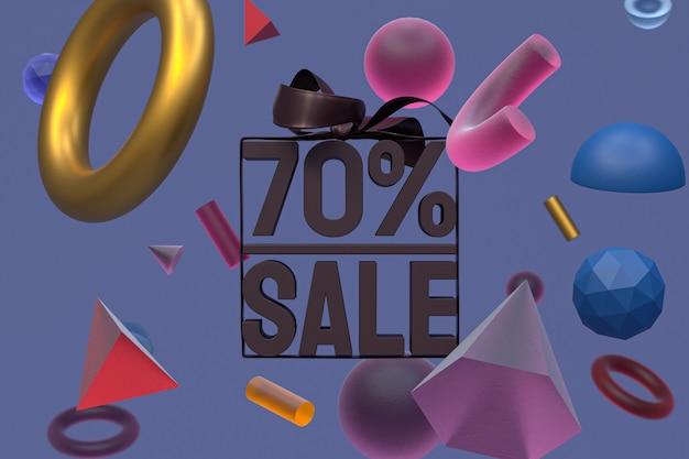 Продажа 70 с бантом и лентой 3d-дизайн на фоне абстрактной геометрии