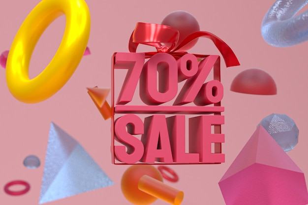 Распродажа 70% с бантом и лентой 3d-дизайн на фоне абстрактной геометрии