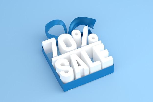 Продажа 70 с бантом и лентой 3d-дизайн на пустом фоне
