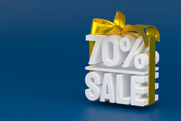 Продажа 70% с бантом и лентой 3d-дизайн на пустом фоне