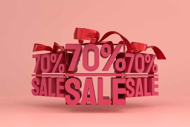 Распродажа 70% с бантом и лентой 3d-дизайн на пустом фоне