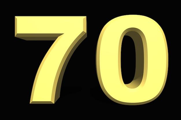 어두운 배경에 70 70 숫자 3d 파란색