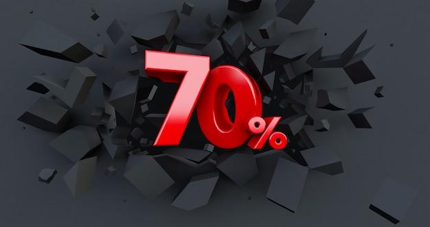 70 70%の販売。ブラックフライデーのアイデア。 70%まで。中央が70%の壊れた黒い壁
