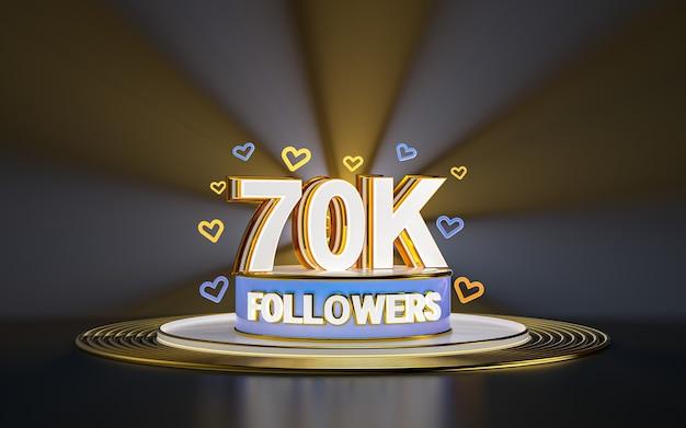 Празднование 70k последователей спасибо баннер в социальных сетях с золотым фоном прожектора 3d визуализации