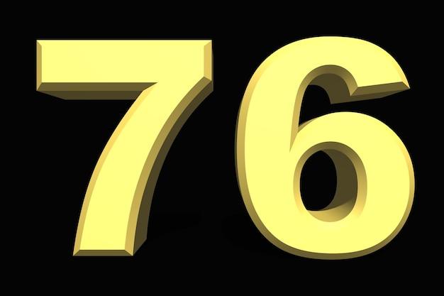 어두운 배경에 76 76 숫자 3d 파란색
