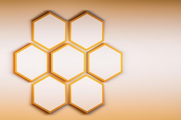 明るい金色の背景に7つの六角形でプレゼンテーションをモックアップします。