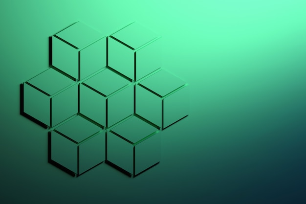 ひし形で構成された7つの小さな六角形で作られた大きな緑色の六角形。