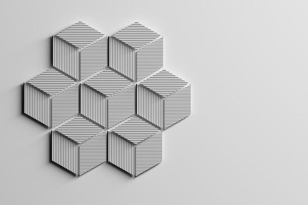 ひし形で構成された7つの小さな六角形で作られた縞模様の大きな六角形。